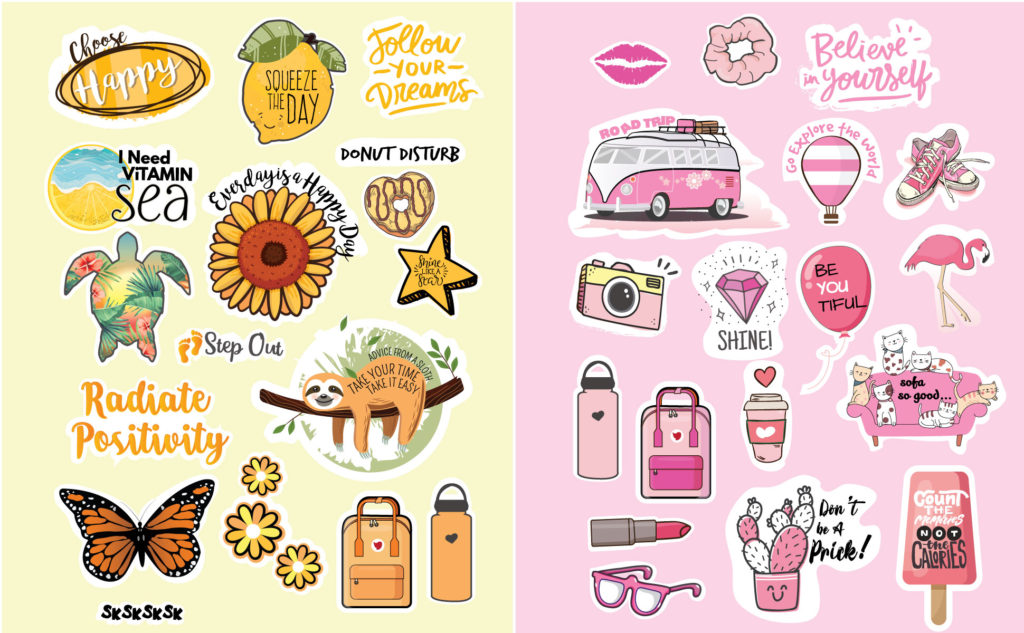 VSCO Stickers Idea - Pink and Yellow vsco stickers on Amazon