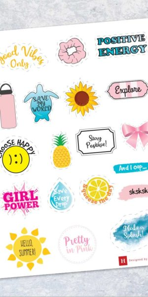 Cute Vsco Stickers In Yellow Pink Blue And Rainbow