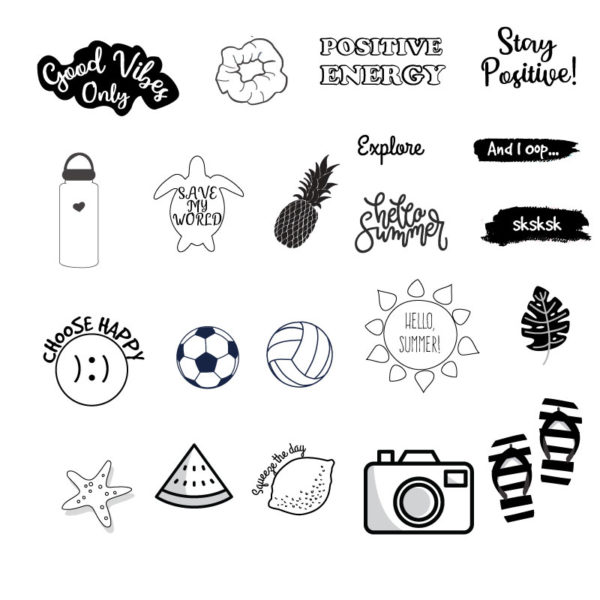 Black and white VSCO Stickers Printable